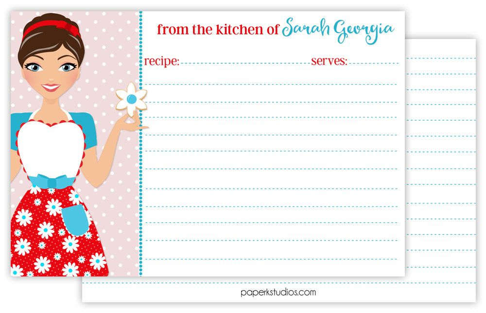 Personalized retro recipe cards, set of 25 double sided 4x6 recipe cards for bridal showers or housewarming gift - dark brown hair by PaperKStudios on Etsy
