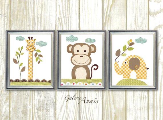 Jungle Nursery Art Giraffe Monkey Decor Elephant Animal Yellow Brown Green Baby