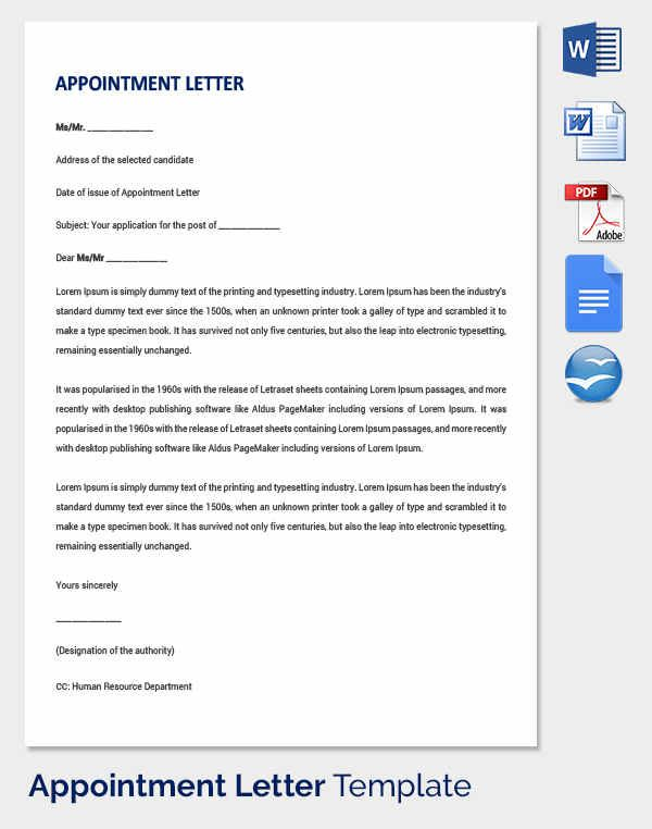 Appointment Letter Templates Free Sample Example Format Template