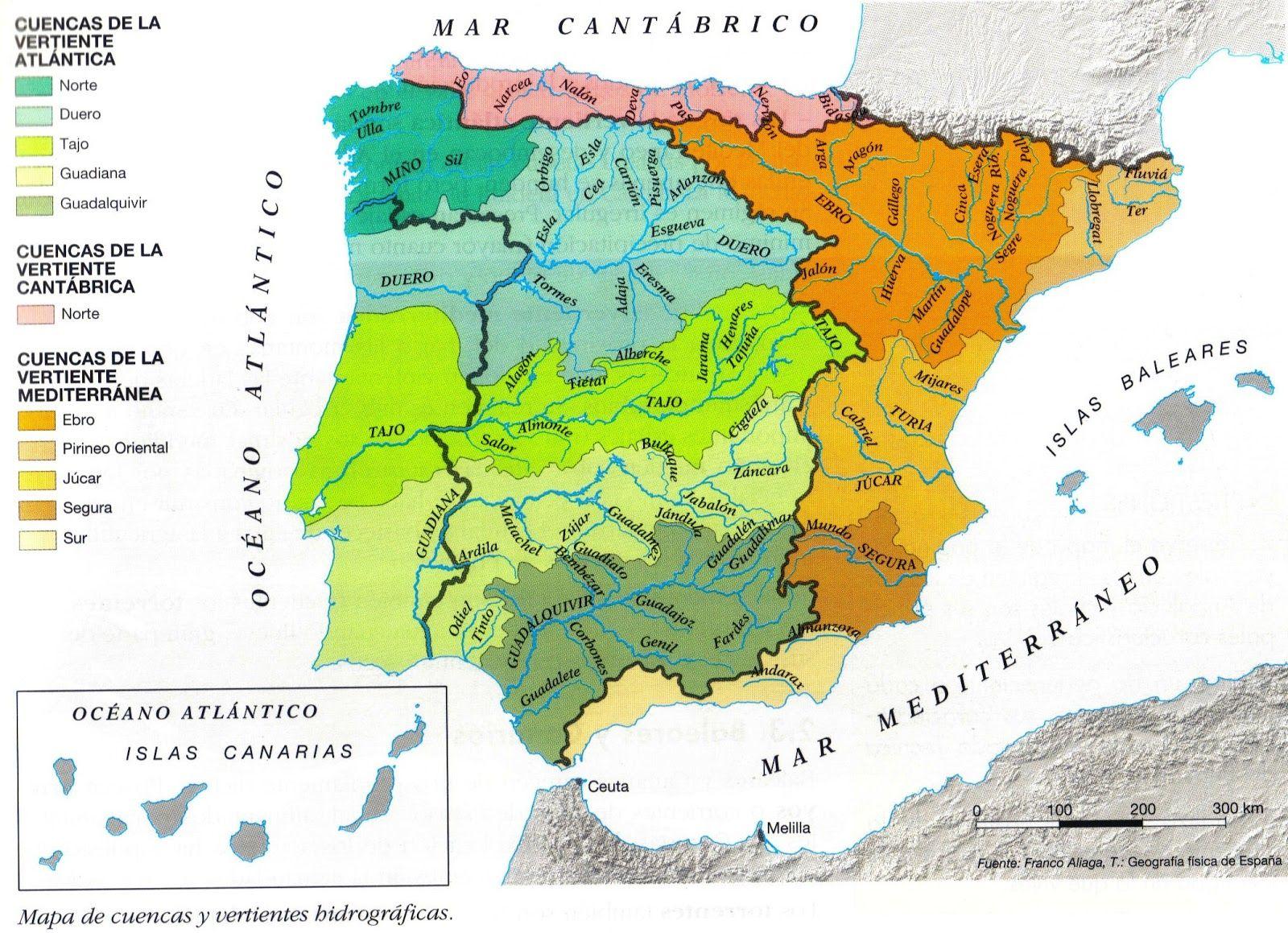 Vertientes Mapa Hidrografico De España.El Territorio Espanol Esta Banado Por Tres Cuencas O