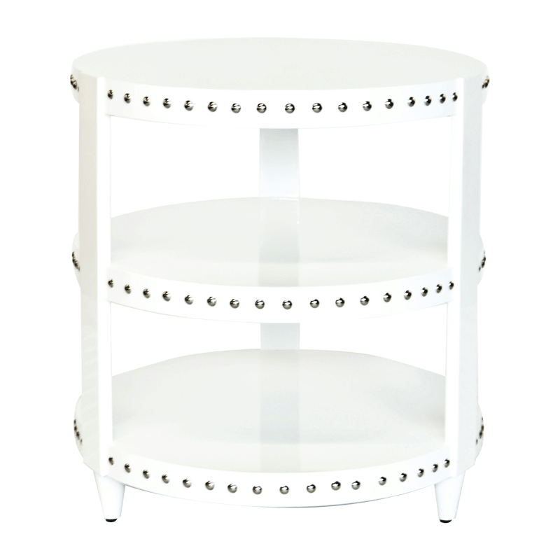 Nora Wh 3 Tier White Lacquer Nickel Studded Side Table White Side Tables Round Side Table Bright Furniture