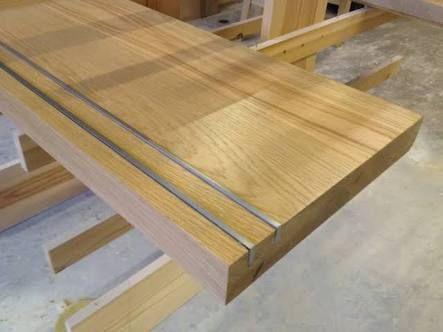 Non Slip Aluminium Staircase Inlay In Wood Bar House