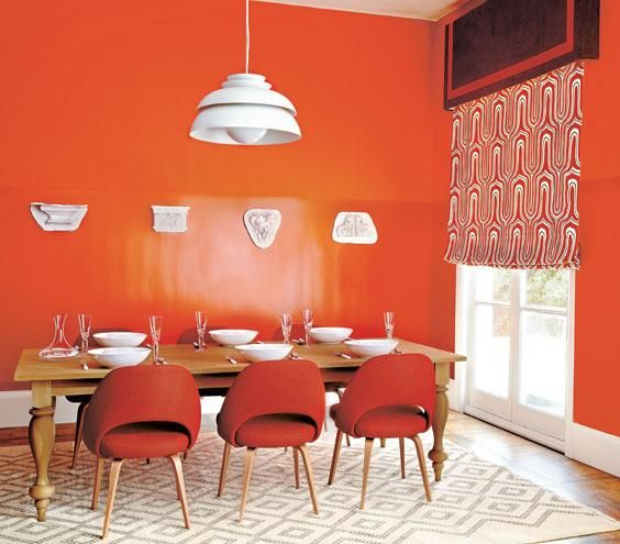 Bright Orange Paint decorating with orange | earthy, orange walls and living room