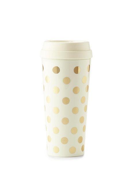 gold dots thermal mug - kate spade new york