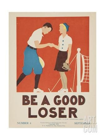 1938 Character Culture Citizenship Guide Poster, Be a Good Loser Giclee Print at Art.com