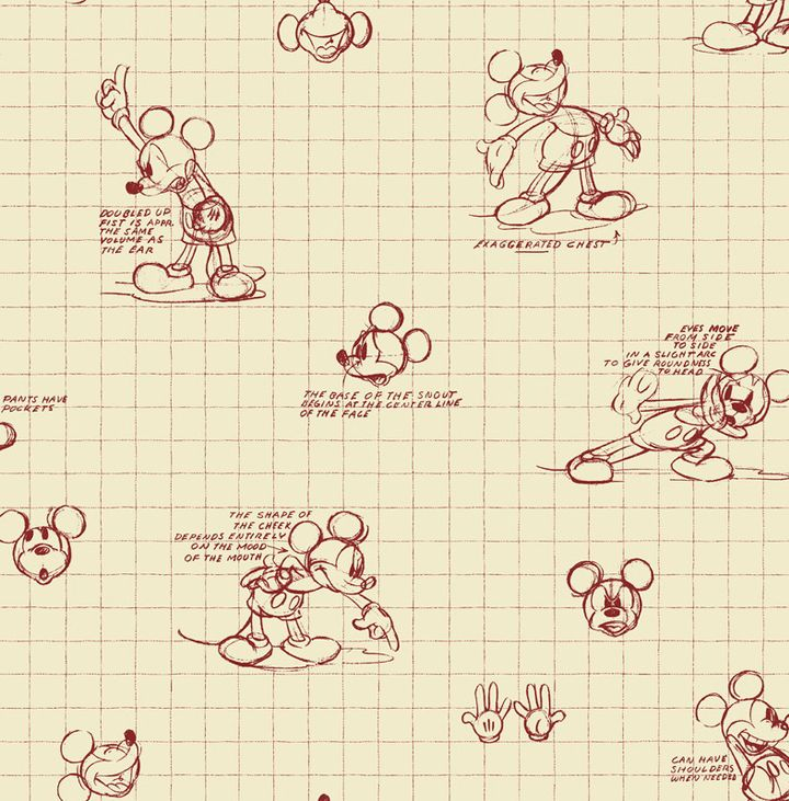 Mickey Sketches wallpaper - Washable, Strippable, PrePasted - from
