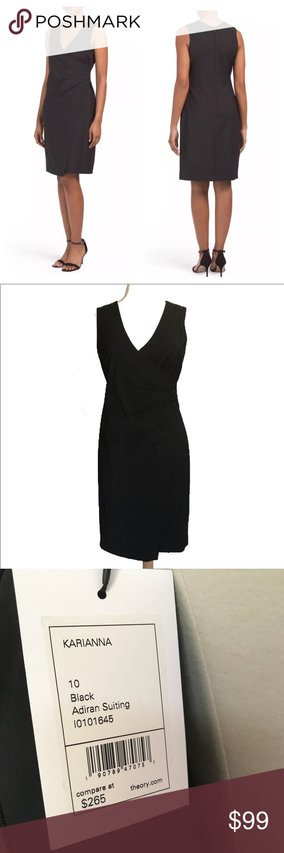 New THEORY Black Adiran Suiting Karianna Dress