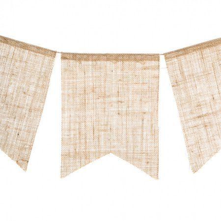 Burlap Banner Rectangle 8 x 10 inch flags, 88 inches long, Bunting 5pc