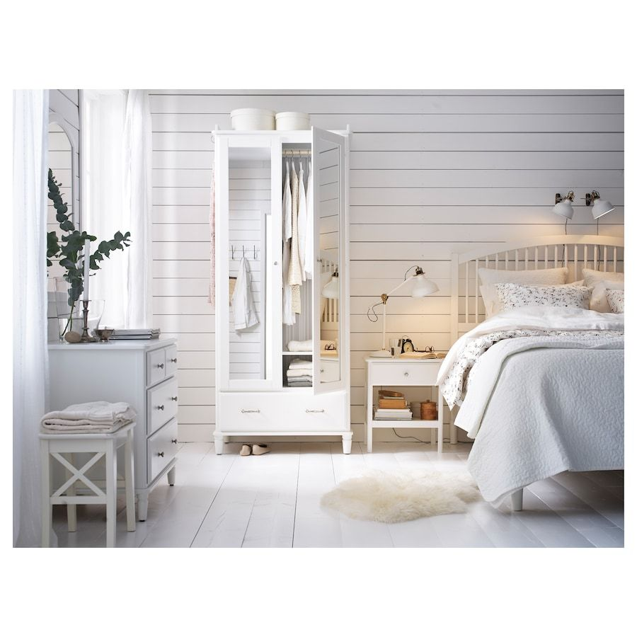 Tyssedal Bed Frame White Queen Ikea In 2020 Bed Frame Ikea Tyssedal White Bed Frame
