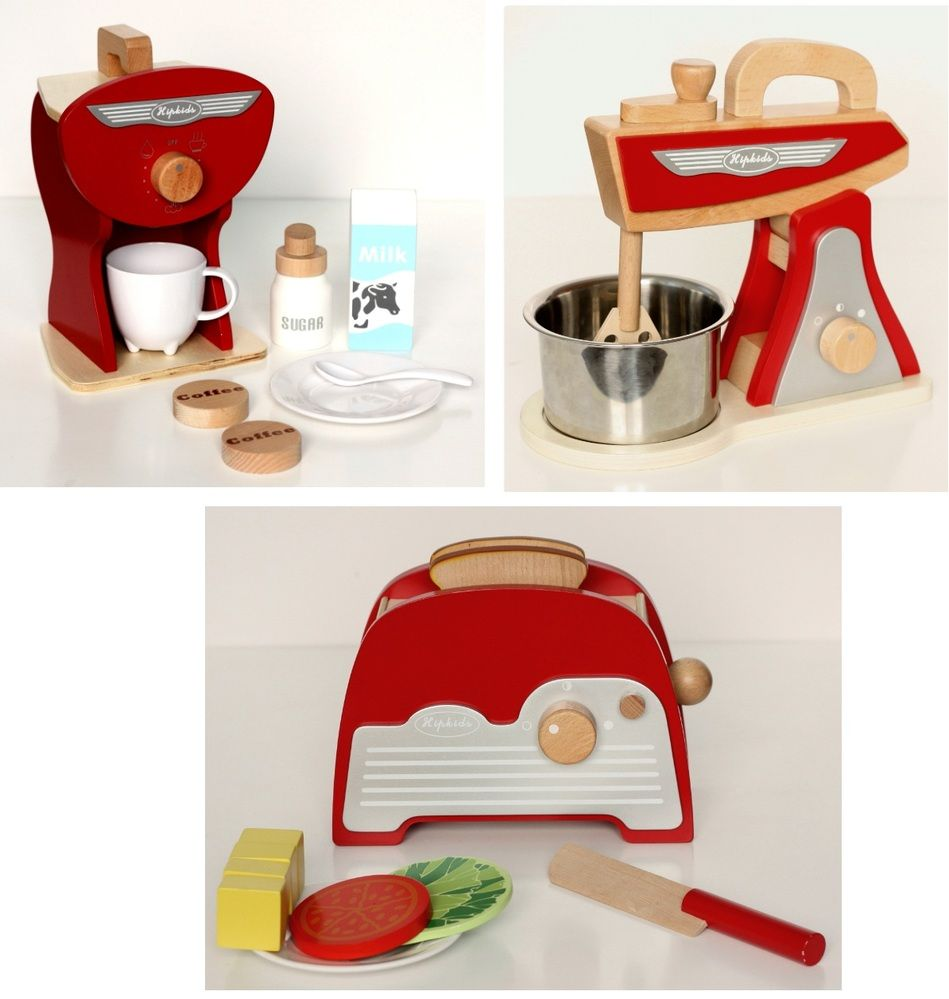 Kids wooden play kitchen  Red Retro Toy Kitchen Accessories Set   Pk  Favourite Play Spaces
