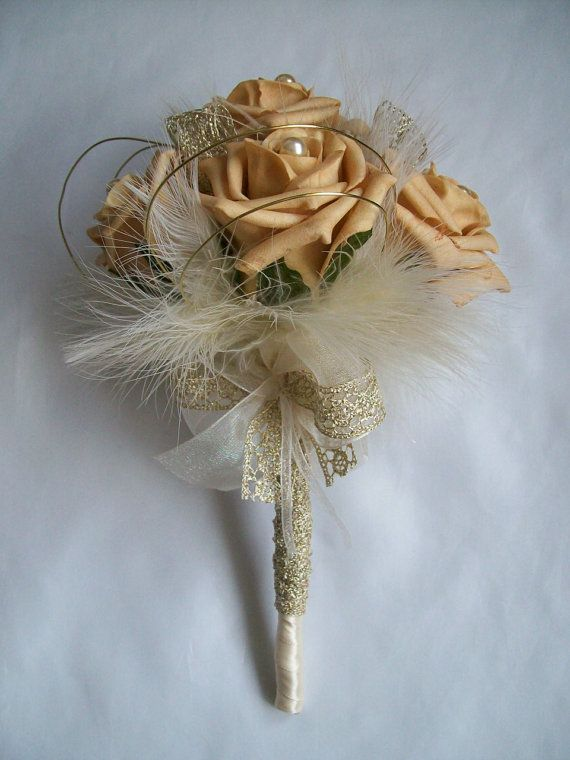 Dainty Antique Gold Rose Cream Pearl Fluff Feather Vintage Bridal Posy Wedding Bouquet