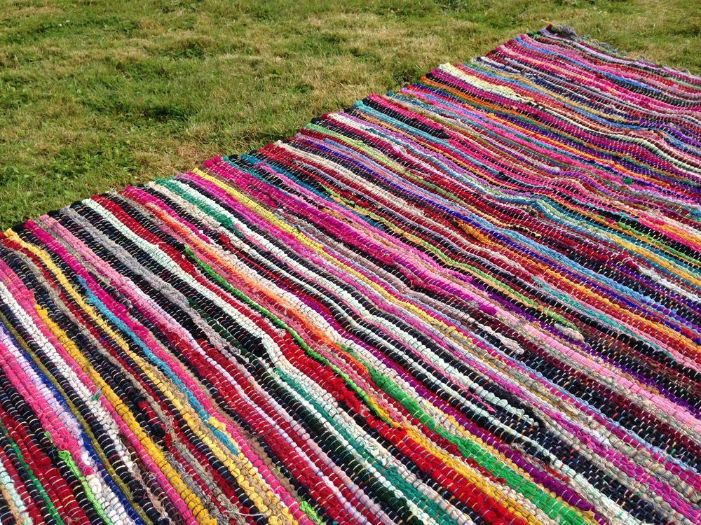 Rag Rug Mat Recycled Cotton Multicoloured Fairtrade Glamping Bell Tent Yurt