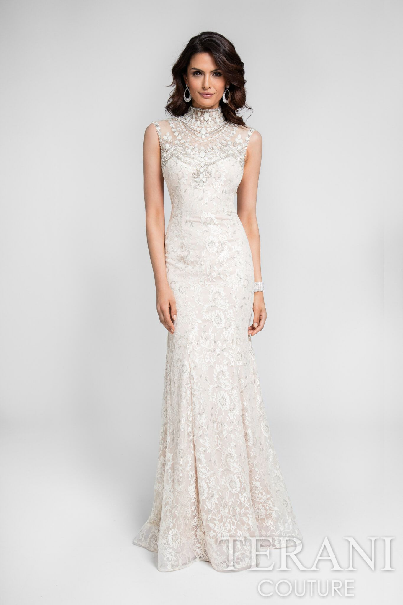 Champagne colored sleeveless metallic lace evening wear dress this