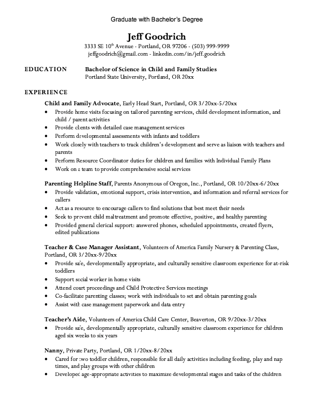 Graduate Bachelor Degree Resume  HttpExampleresumecvOrg