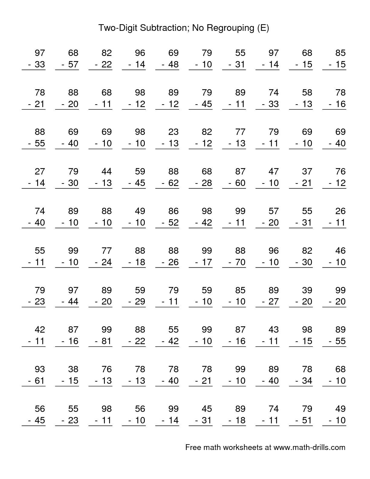 The Two Digit Subtraction With No Regrouping 100 Questions E Subtraction Worksheet