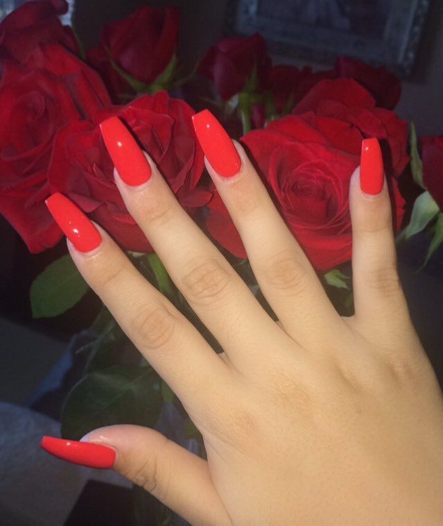 Pin By Babyy Kree On N A I L S Red Acrylic Nails Red Nails Glitter Acrylic Nails