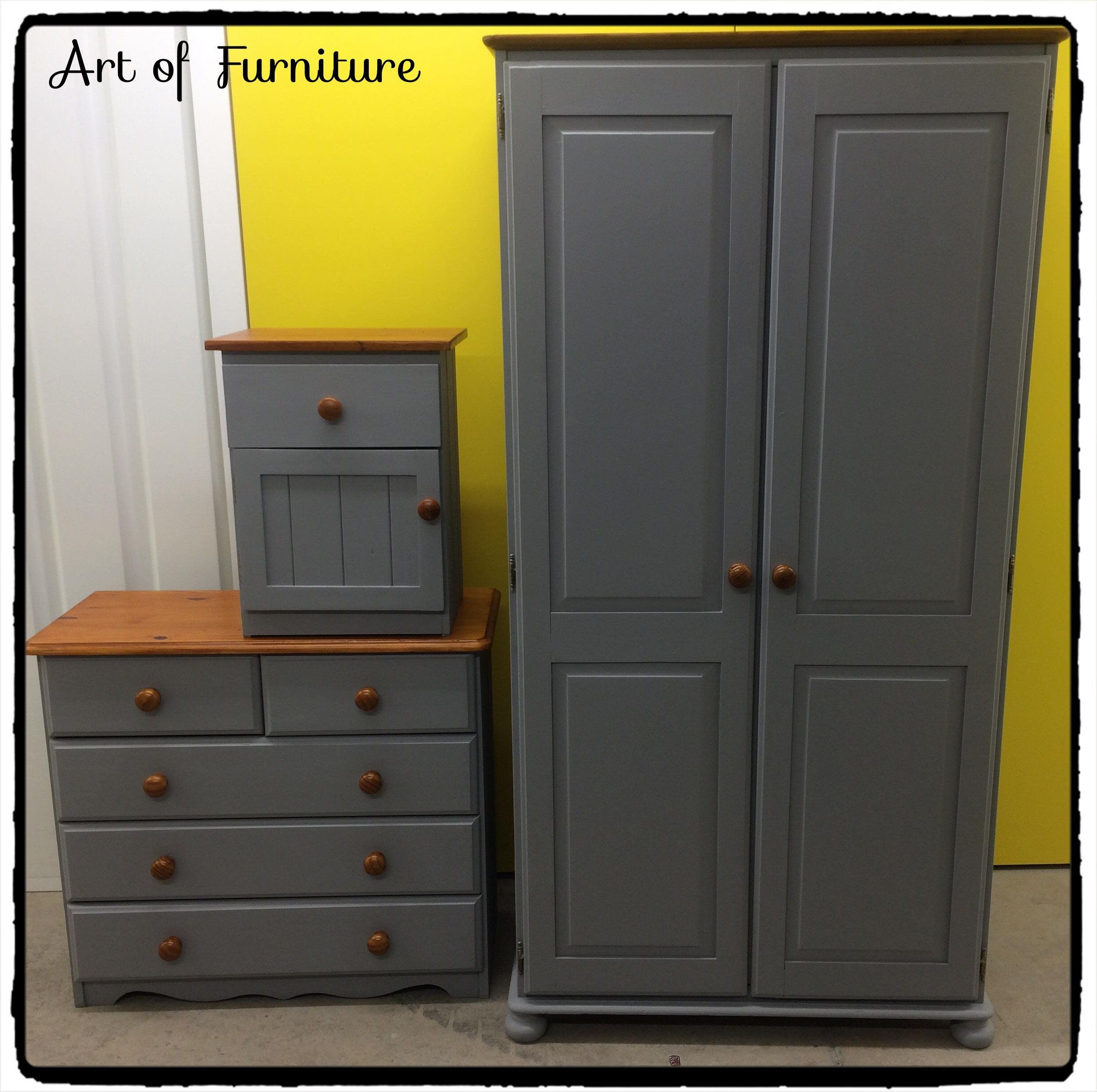 Pine rustic bedroom furniture set wardrobe chest of over drawers