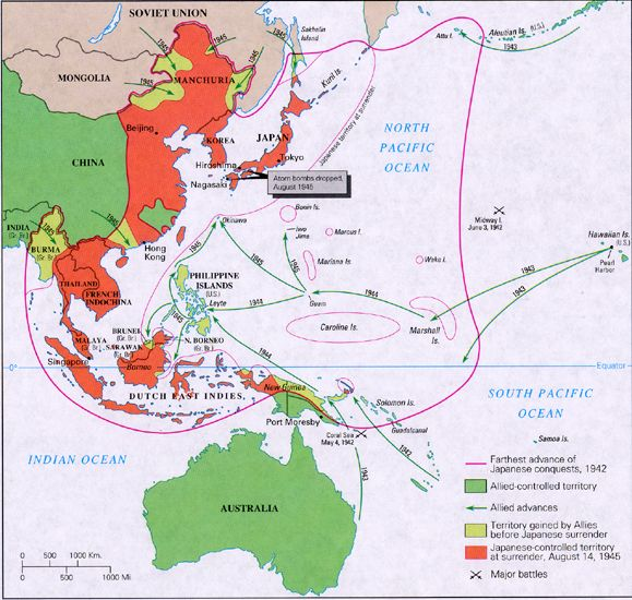 Map Japan World War 2. The map shows that Japan held most control of the Pacific during its peak  until 1942