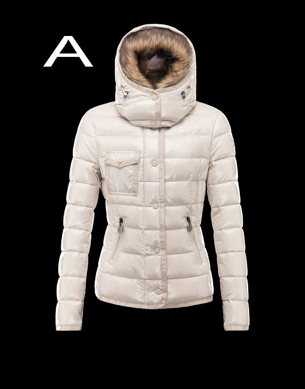 Moncler Armoise Women Lacquer Short Down Coat with Fur Hood White On Sale