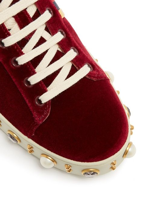 460e7a19768 Gucci New Ace faux-pearl embellished velvet trainers