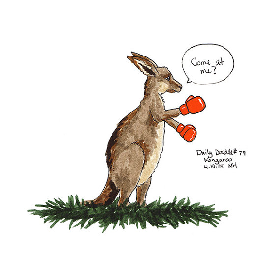 No.79 Kangaroo / Illustration / Daily Doodle - Art Print # ...