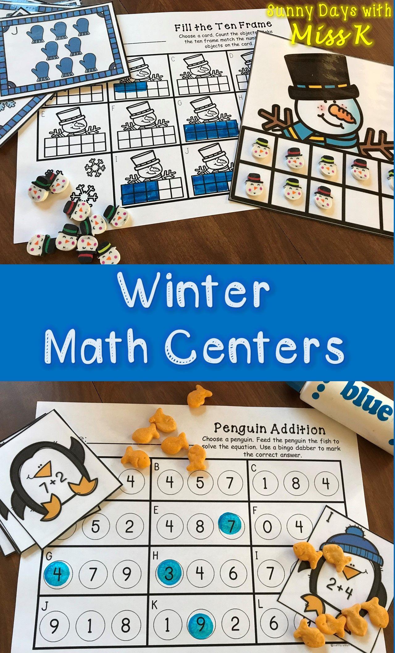 Kindergarten Winter Math Centers