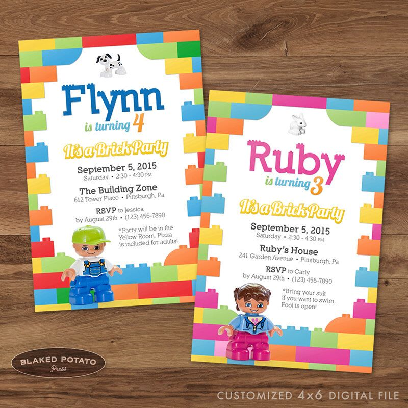 Brick Birthday Party Invitation, Lego Duplo Invitation, Printable ...
