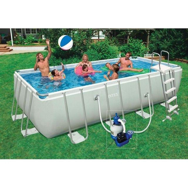 piscine tubulaire ultra silver rectangulaire 4 57 x 2 74 x 1 22 m - intex