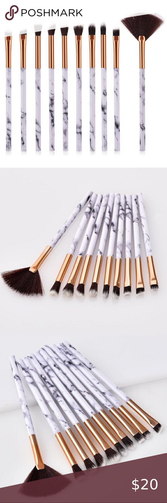 New 10 Piece Marble Brushes Set In 2020 Brush Set Things To Sell Makeup Tools Brushes