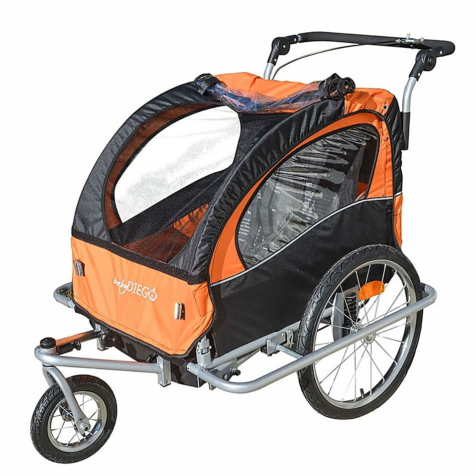 Baby Diego 2In1 Double Bike Trailer And Jogger Stroller