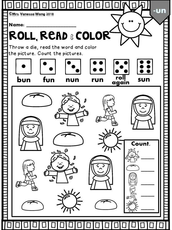 Phonics CVC Roll, read and color Phonics, Phonics