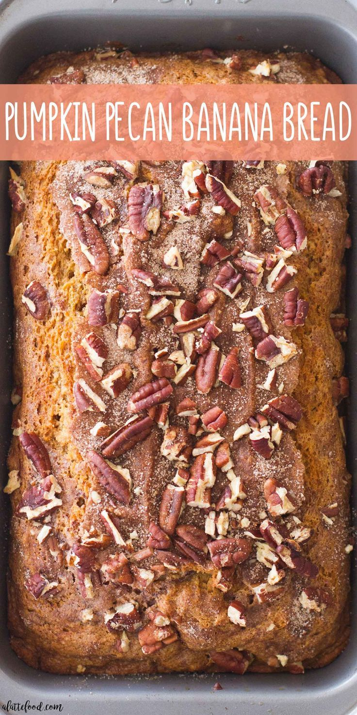 This easy Pumpkin Pecan Banana Bread recipe is one of my favorite fall dessert recipes! A sweet homemade banana bread is crossed with moist pumpkin bread (and topped with cinnamon sugar and crushed pecans) to make a perfectly spiced pumpkin banana bread!