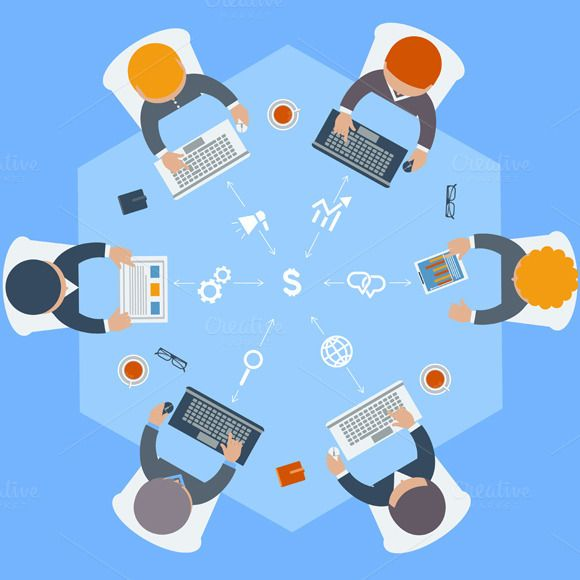 Check out Office workers on meeting by robuart on Creative Market
