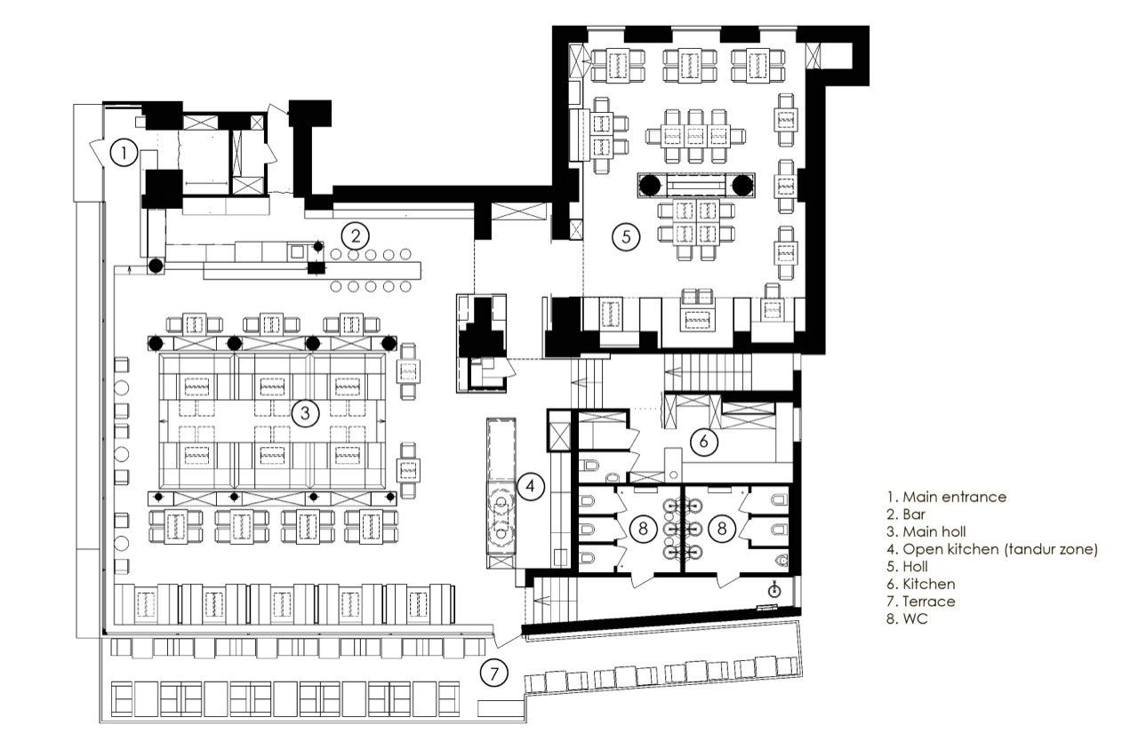 Kitchen Floor Plans Designs Gallery Of Restaurant Odessa Yod Design Lab 19 Restaurant