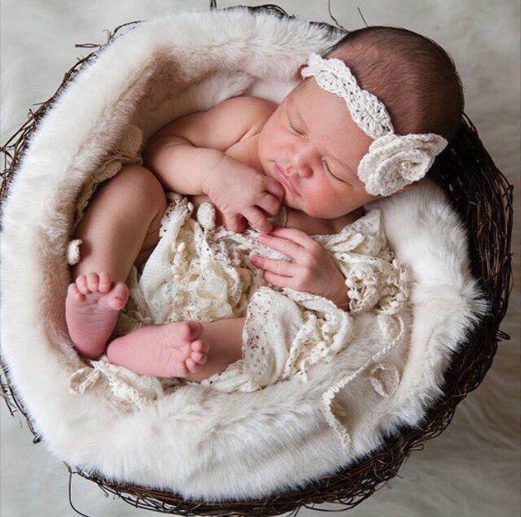 Cream or white newborn handmade crochet flower headband with pearl bead photo prop
