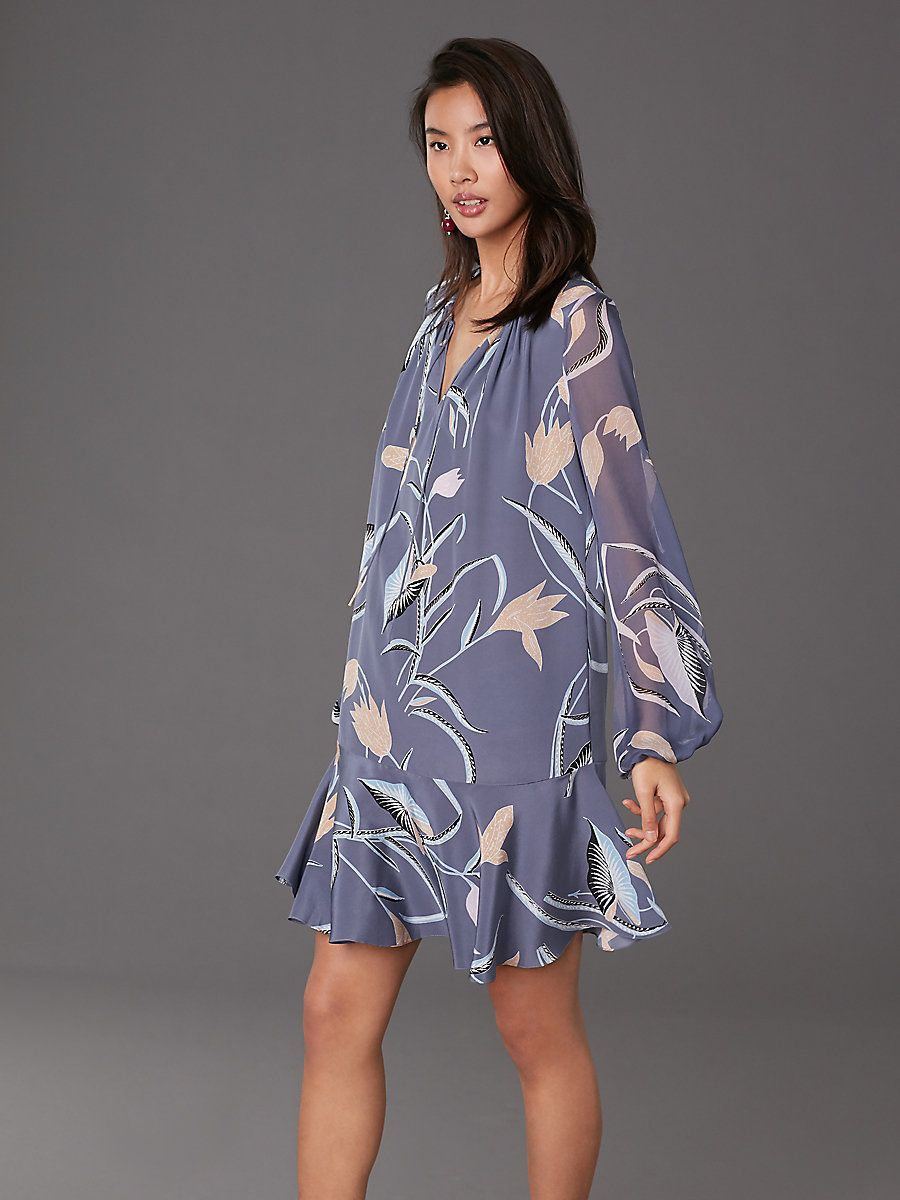 a6b78cb6d2 Find online exclusives in Diane von Furstenberg's selection of signature  women's designer dresses. Cinched Sleeve Keyhole Dress in Oswald Lilac