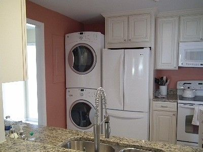 Fullsize stackable washerdryer and french door LG refrigerator