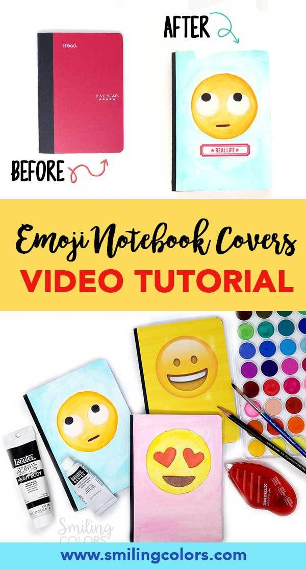 Diy Notebook Covers Video Emoji School Supplies Make Your Own Book Cover Emoticon Books Notebook Covers Diy Notebook Cover Emoji School Supplies