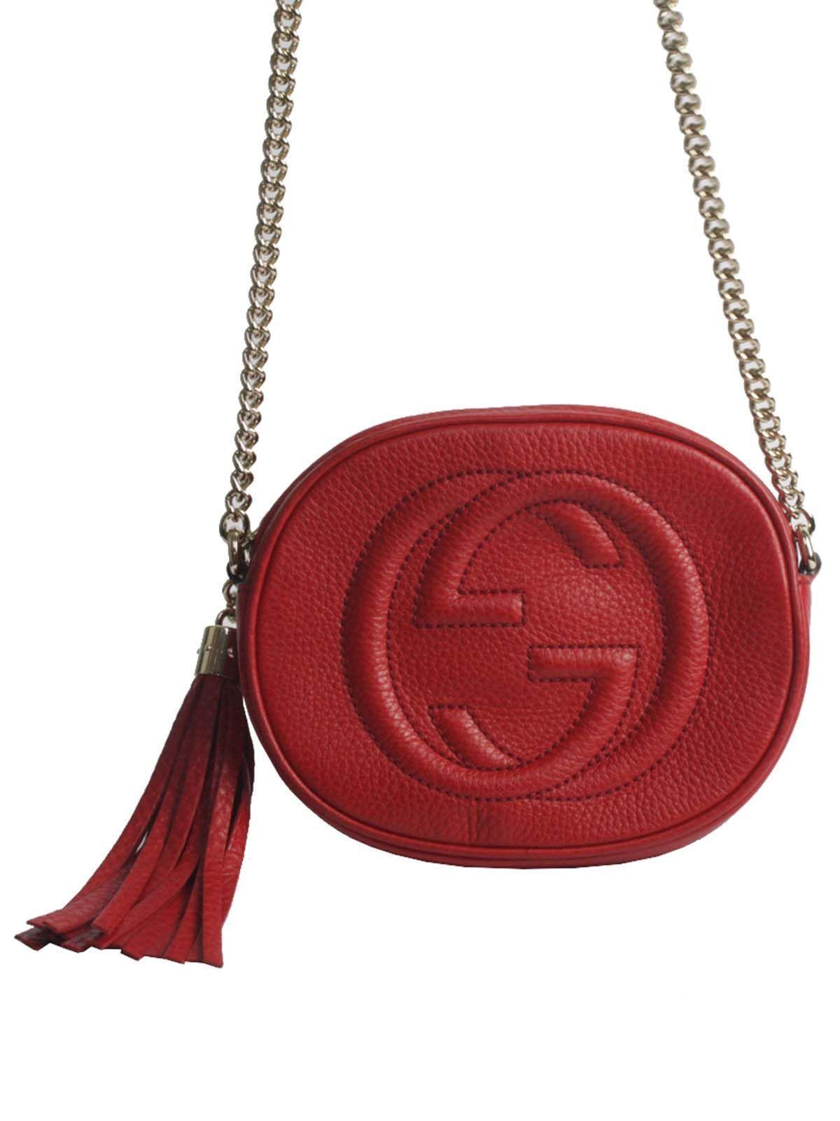 07507f012 Bolsa da marca italiana Gucci, confeccionada em couro vermelho e ferragens  e corrente em dourado. A bolsa encontra-se em perfeito estado de  conservação.
