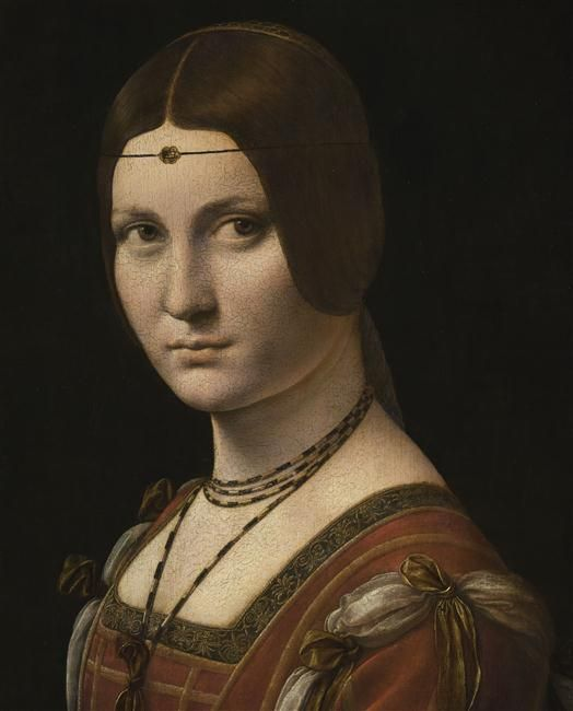 """""""Portrait d'une dame de la cour de Milan, dit à tort La belle Ferronnière"""" de Léonard de Vinci. Paris, musée du Louvre - Photo (C) RMN-Grand Palais (musée du Louvre) / Michel Urtado"""