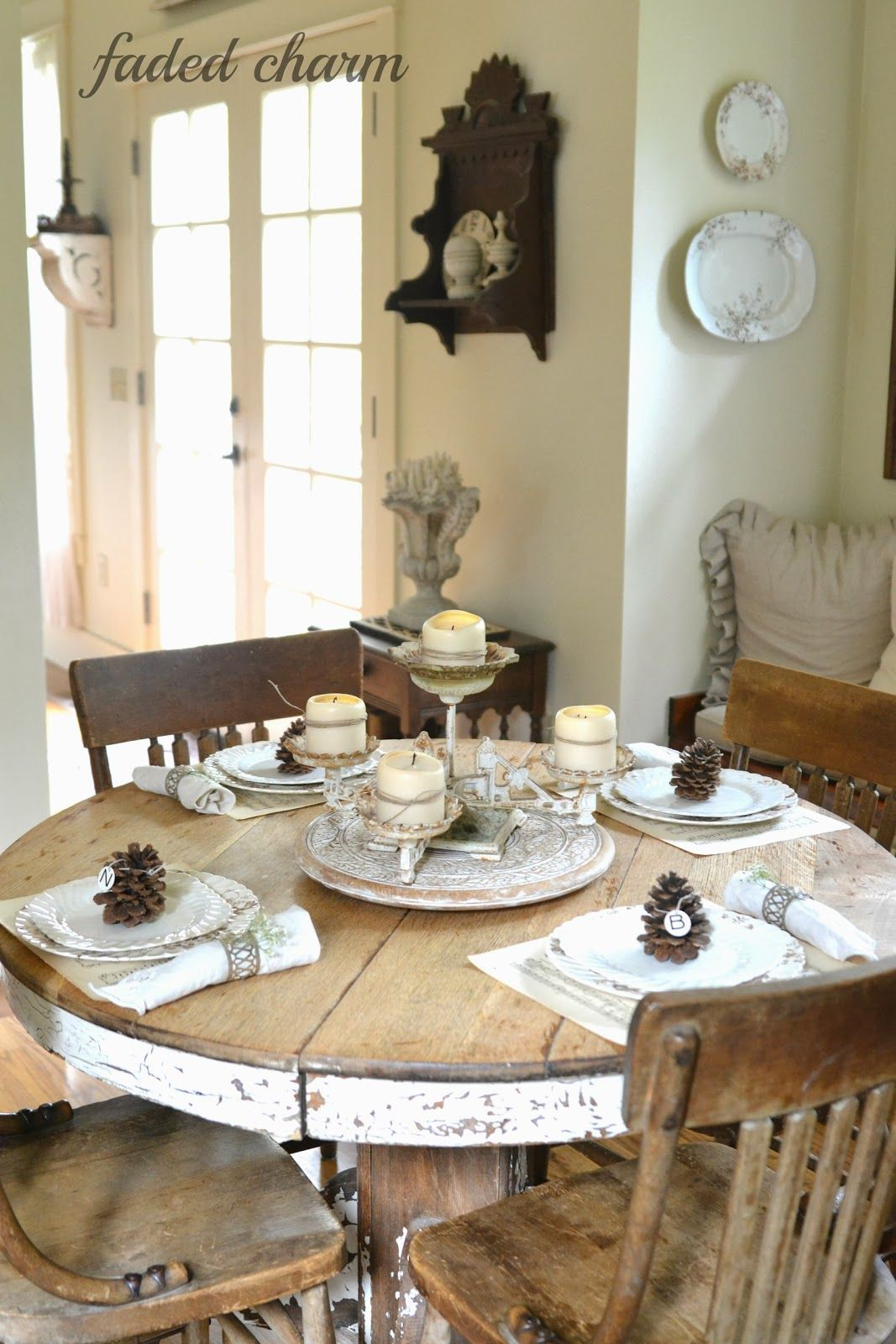 Table Setting A Round Rustic And Cottage Tablescape Is So