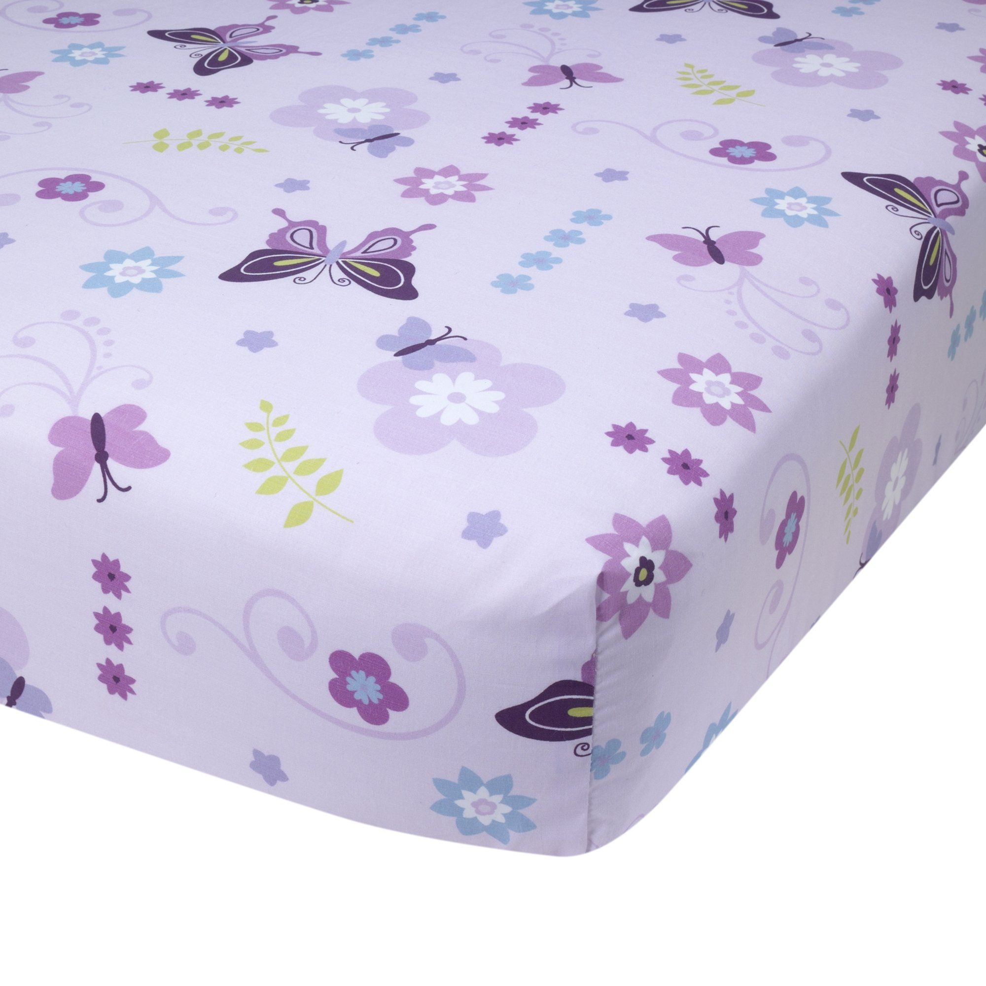 Little Bedding By NoJo Butterfly Blossoms Fitted Crib Sheet Purple White Flowers