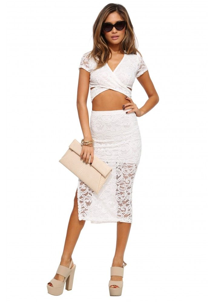 Sophie Laced Crossover Crop Top in Ivory | Necessary Clothing