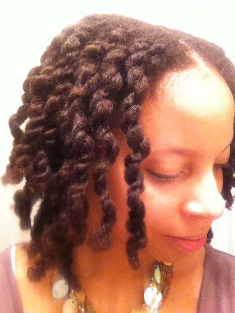 Three strand twisted chunky twist on natural hair