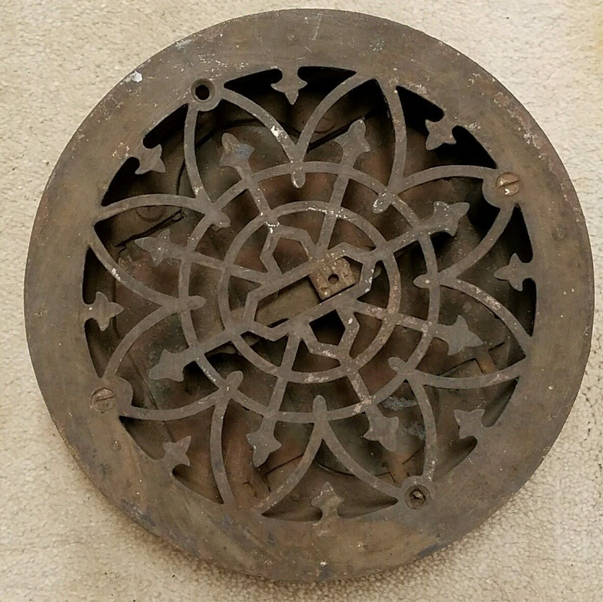 1882 Simonds Mfg Co Round Ornate Cast Iron Floor Register Grate Vent 9 25 034 Ebay Antique Hardware Antiques Cast Iron