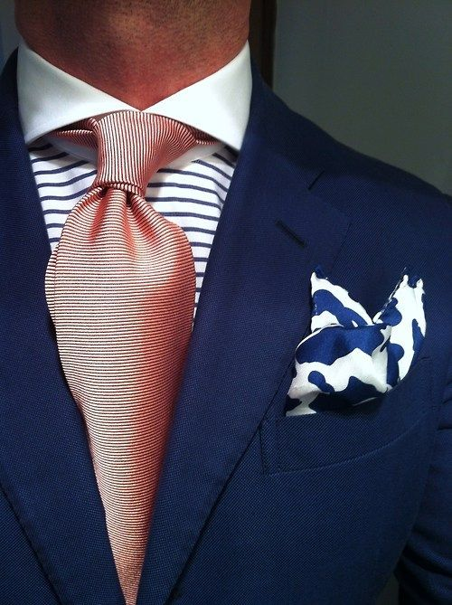 2e2a9d4c printed pocket tie, stripey shirt details | KoloR!!!!!! | Mens ...