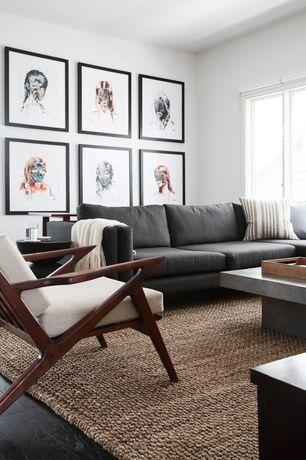 view this great modern living room with hardwood floors & jute rug