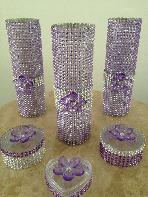 Set of 3 decorated bling glass cyclinder candles for for Bling decor
