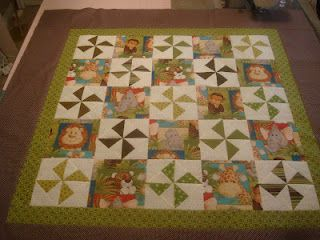 Because I say sew ;)-Jungle Baby Quilt-Great idea for fussy cutting fabric for a quilt