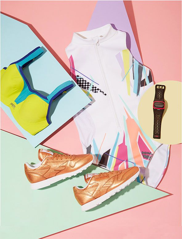 ELLE loves... These graphic sportswear pieces are great inspiration to get fit and motivated!!   Team metallic trainers with a bold coloured crop top and leggings when heading to the gym this week.
